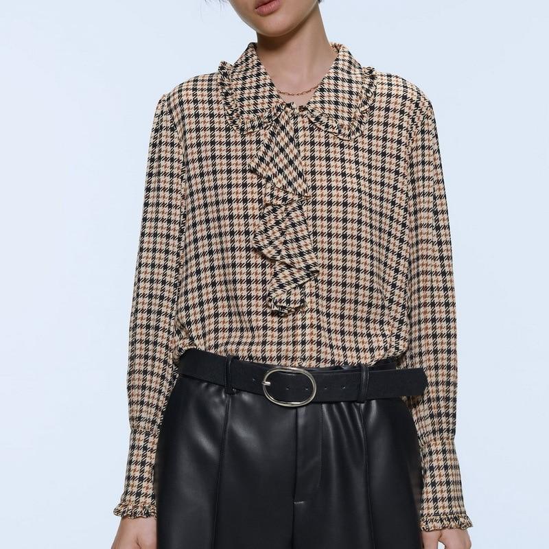 Women Plaid Shirt Autumn New Fashion Houndstooth Pattern Blouse Modern Lady Long Sleeve Shirts Streetwear Ruffles Ladies Tops