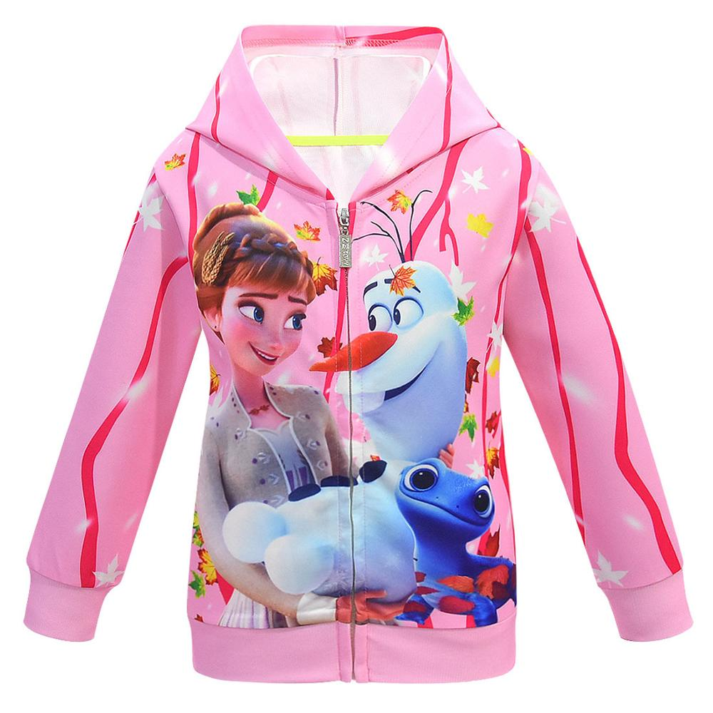 Girls Hoodies Cartoon Lisa Anna Princess Printed Autumn Spring Toddler Hoodie Zipper Cardigan Sweatshirt Girls Fashion Jacket 4