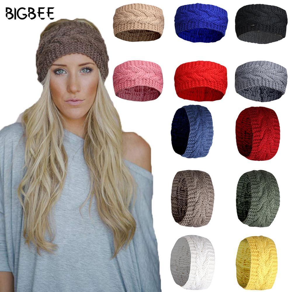 Европейский отличные зимние повязки для волос для женщин бандана повязка на голову, модные аксессуары для волос Твердые Цвет шерстяная вяз...