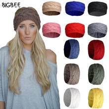 Europen fino inverno bandana headbands para mulheres moda acessórios para o cabelo cor sólida tricô lã bandana headwear