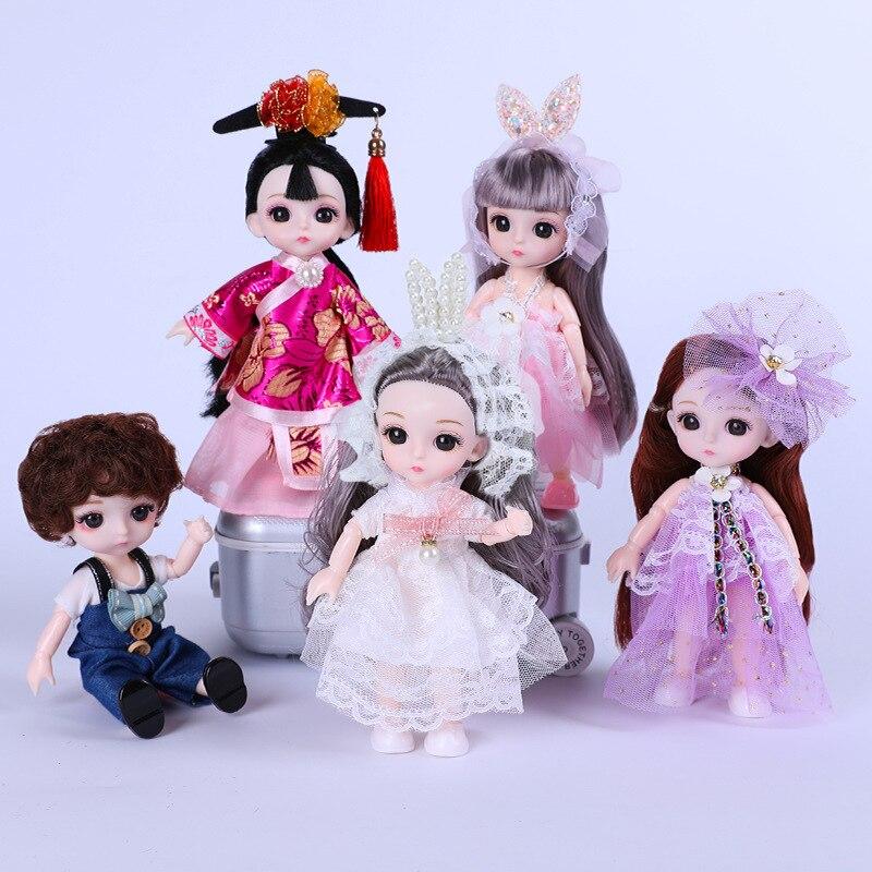 Muñeca BJD de 13 articulaciones móviles, 16cm, 1/12, maquillaje y vestido de princesa, ropa de moda, dar zapatos, juguete DIY, regalo de cumpleaños|Muñecas| - AliExpress