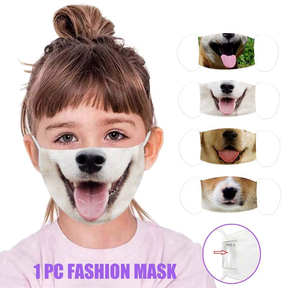 Funny Dog Print Maske For Kids Outdoor Dustproof Facemask Cosplay Party Funny Masks Mascarill Aliexpress