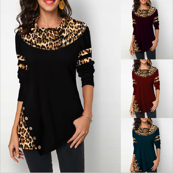 S-5XL New Hot Sale Loose Long Sleeve Women's Large size T-Shirt Top 2020 Spring and Autumn Leopard Button Splice Ladies T-Shirt image