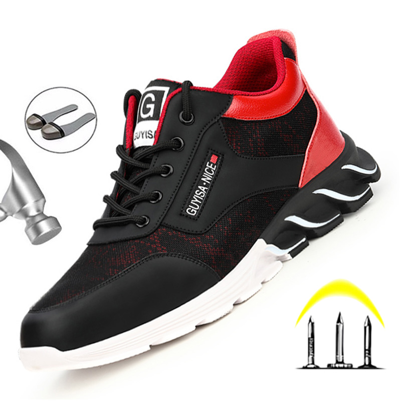 Men's Work Shoes Men Boots Indestructible Sneakers Working Boots Anti-Smashing Construction Safety Shoes With Steel Toe Cap