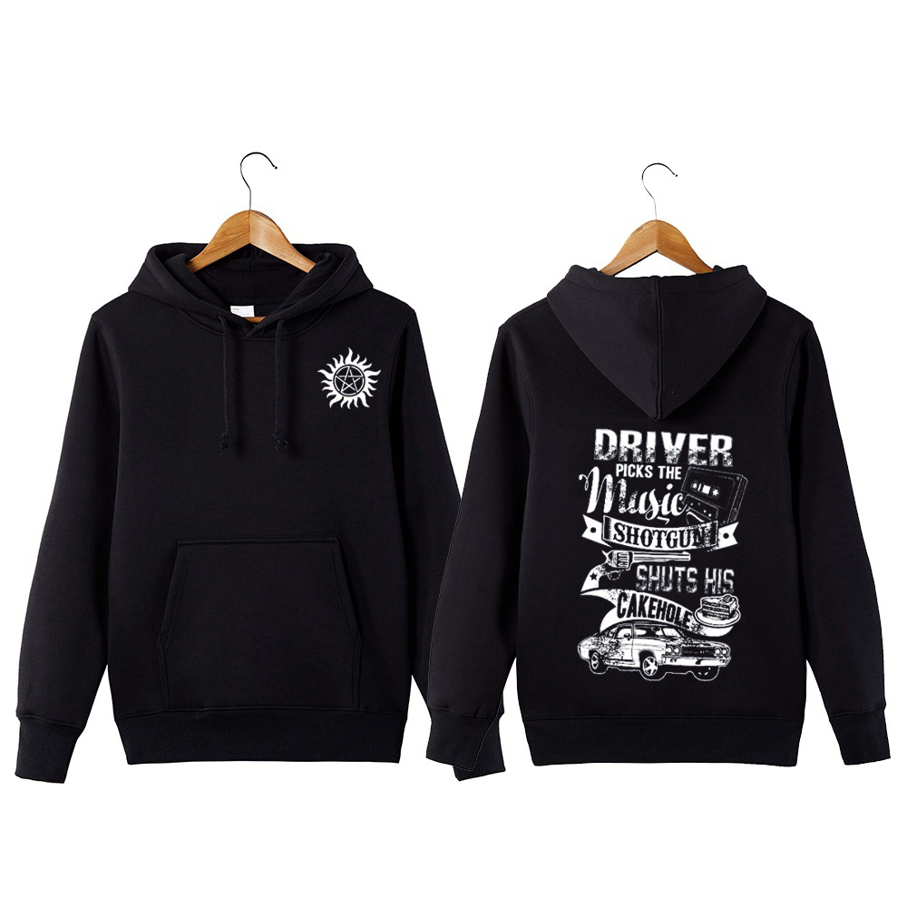Supernatural Hoodie Driver Picks The Music Shuts His Cake Hole Funny Supernatural Pullover Hoodie Sweatershirt