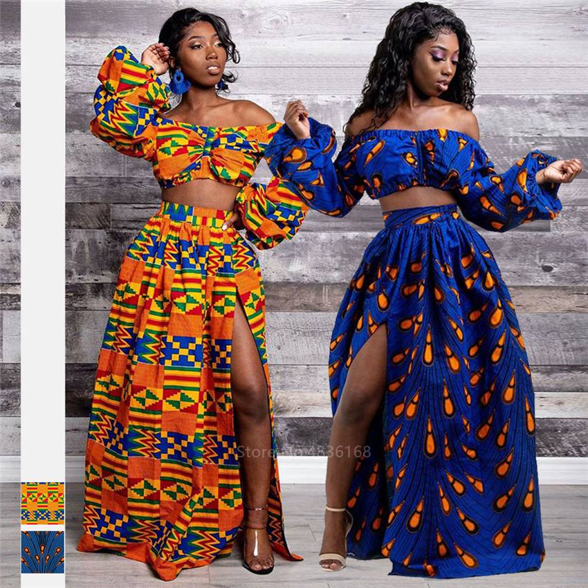 African Dresses for Women 2020 News Ladies Full Sleeve Shoulder Off Festher Dashiki Print Split Skirts Autumn Africna Clothes