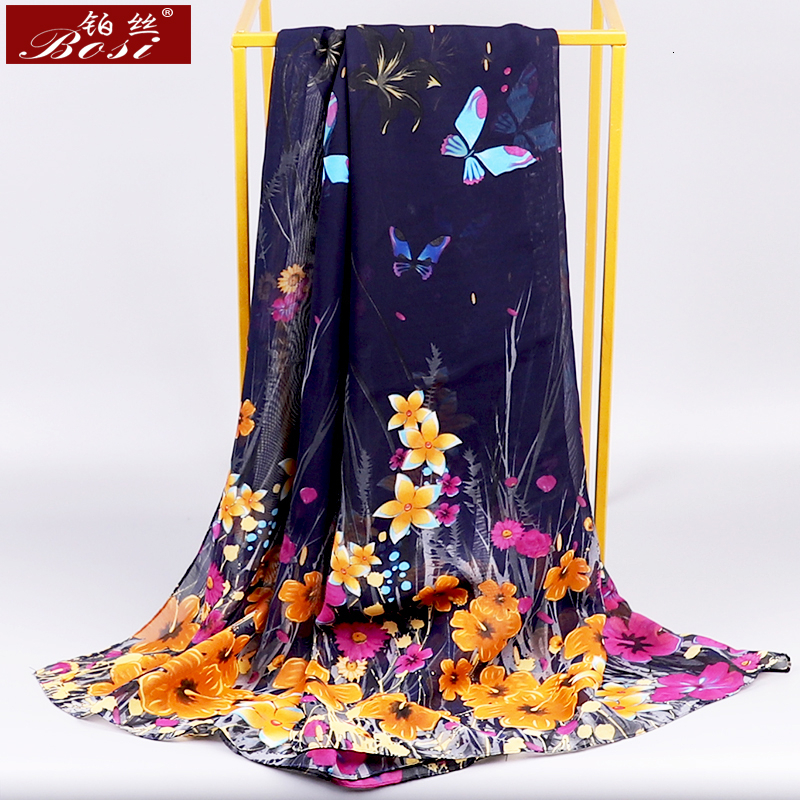 BOSI Chiffon Scarf  Woman Satin Long Scarf Flower Winter Print Plaid Chiffon Beach Luxury Brand Ladies Hijab Head Stoles Spring