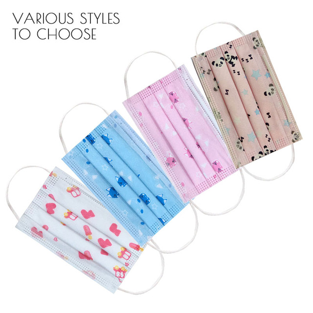 Children's Disposable Face Mouth Mask Cotton Cute Child Breathable 3 Layer Dust PM2.5 Kids Protective Mask  Fast Shop Earloop 1