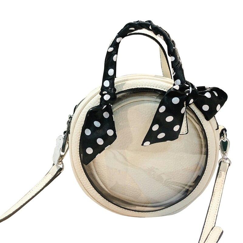 FashionWomen'S Trasparente di Modo di Strato Superiore Della Pelle Bovina Piccola Borsa Rotonda Spalla A Tracolla casual Shopping Borsa Sciarpa