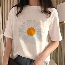 Harajuku Japanese Style Tumblr T Shirt White T-shirt Women 2020 Streetwear Tops Send Help Daisy Flower Kawaii Female Shirt