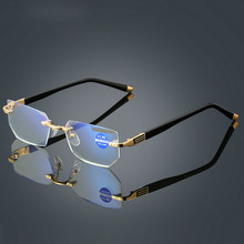 Anti Blue Ray Reading Glasses Women Dimond Cutting Rimless Eyewear Men Fatigue Hyperopia Presbyopic