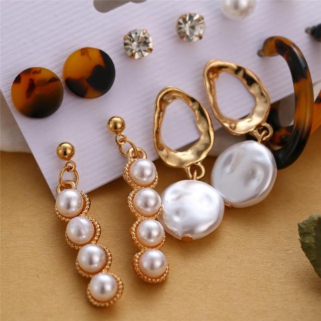 Bohemian Tassel Acrylic Earrings Set For Women Big Geometric Round Heart Pearl Rhinestones Earrings boucle doreille femme 2019