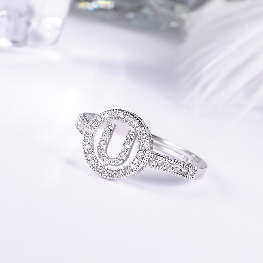 fashion mosaic cubic Zirconia Crystal Alphabet Letter Rings silver color Adjustable rings For Women Korean Jewelry 6