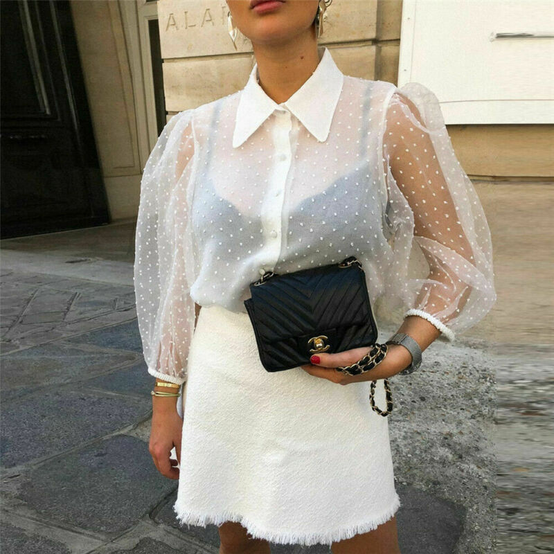 Women See-through Sheer   Blouse   Polka Dot Long Puff Sleeve   Shirts   Transparent Tops Ladies Sexy   Blouses   Party Clubwear White Black