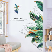 Creative Bird Plant Wall Stickers Home Decor Decorations Living Room Bedroom Self Adhesive Stickers Background Wall Decoration