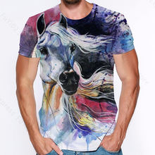 Cool steed 3d print t shirt watercolor animals streetwear man