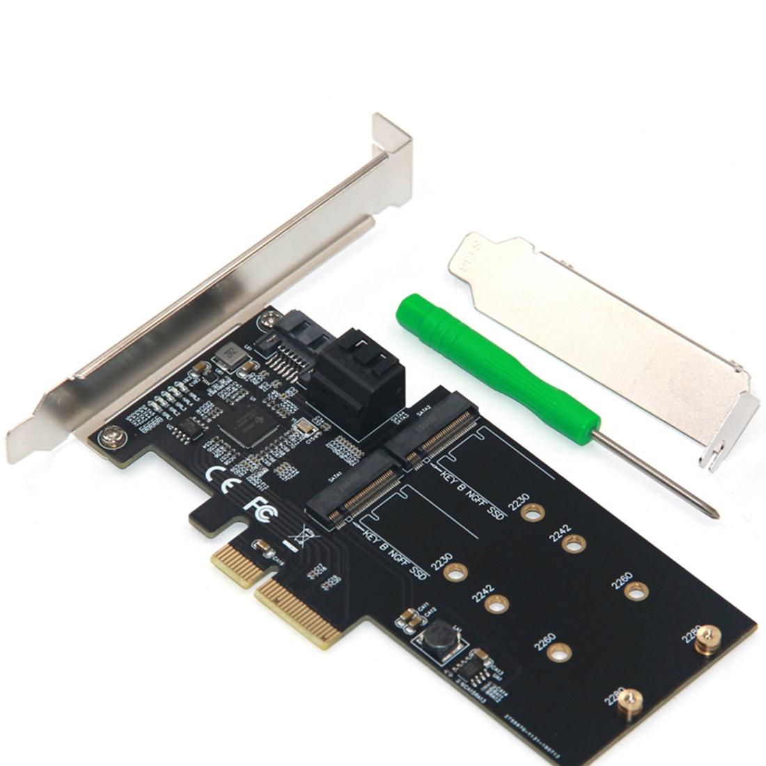 SATA Raid Controller SATA Raid M.2 PCI Express Raid Card 3Port SATA3.0 6Gbps + 2Port M.2 NGFF SSD B Key Support RAID0 RAID1 AHCI