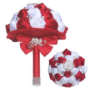 Image 2 - Burgundy White Silk Ribbon Rose Holding Flowers Artificial Foam Flowers Wedding Flowers Bridal Bouquets Bridesmaid Bouquet W291