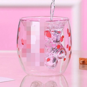 Image 4 - Cat Claw/Paw Cup Double Glass Coffee Mug Cartoon Cute Milk Juice Home Office Cafe Cherry Pink Transparent Double Glass  Paw Cup