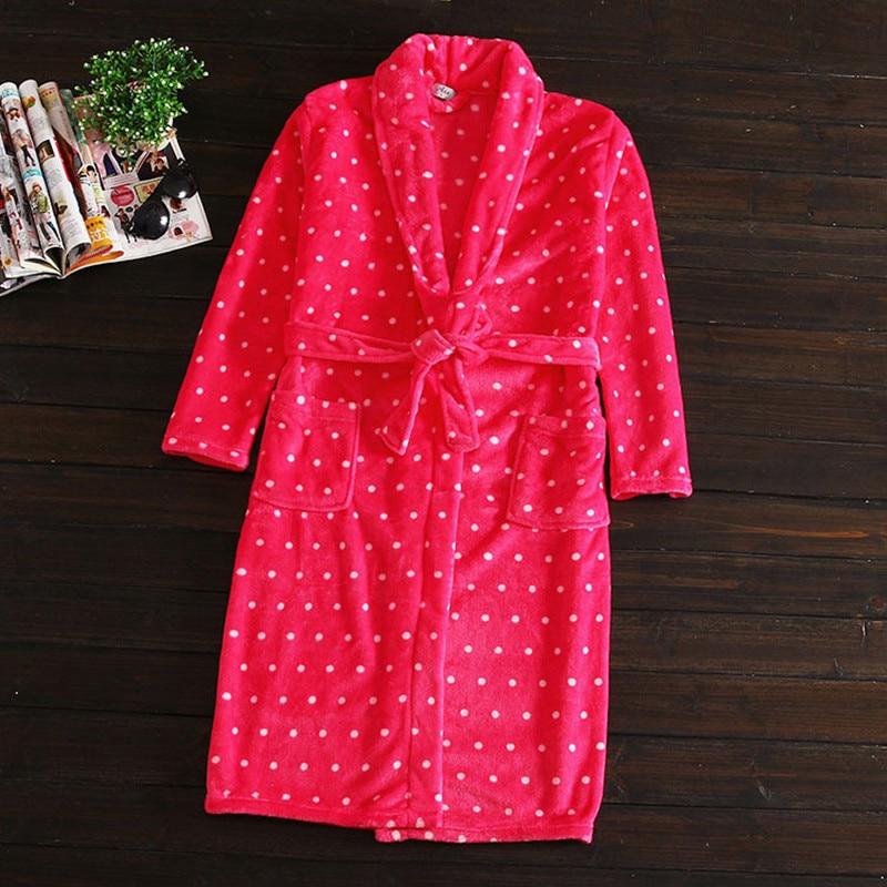 Sexy Red Bathrobe Women Dot Print Nightgown Flannel Warm Belt Long Sleeve Pocket Home Casual Sleepwear Big Size 2019 Pjs
