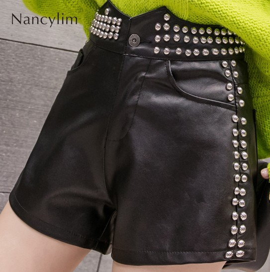 Leather Shorts Women Personality Street Studded Rivets Beaded Broad Legs Boot Shorts Ladies Autumn Winter Black Pu ShortS