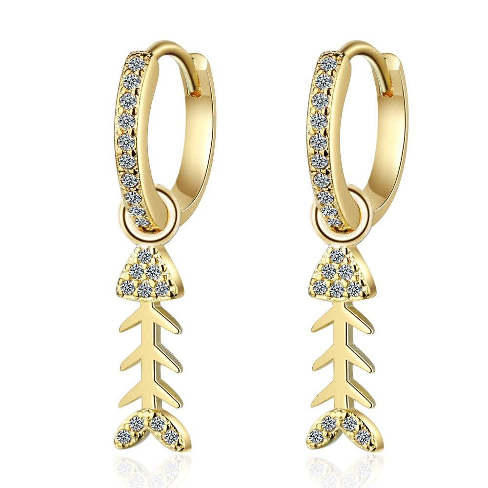 925 Sterling Silver Earrings Crystal Fish Design Gold Earring For Women Fashion Korea Jewelry New 2020 Kolczyki