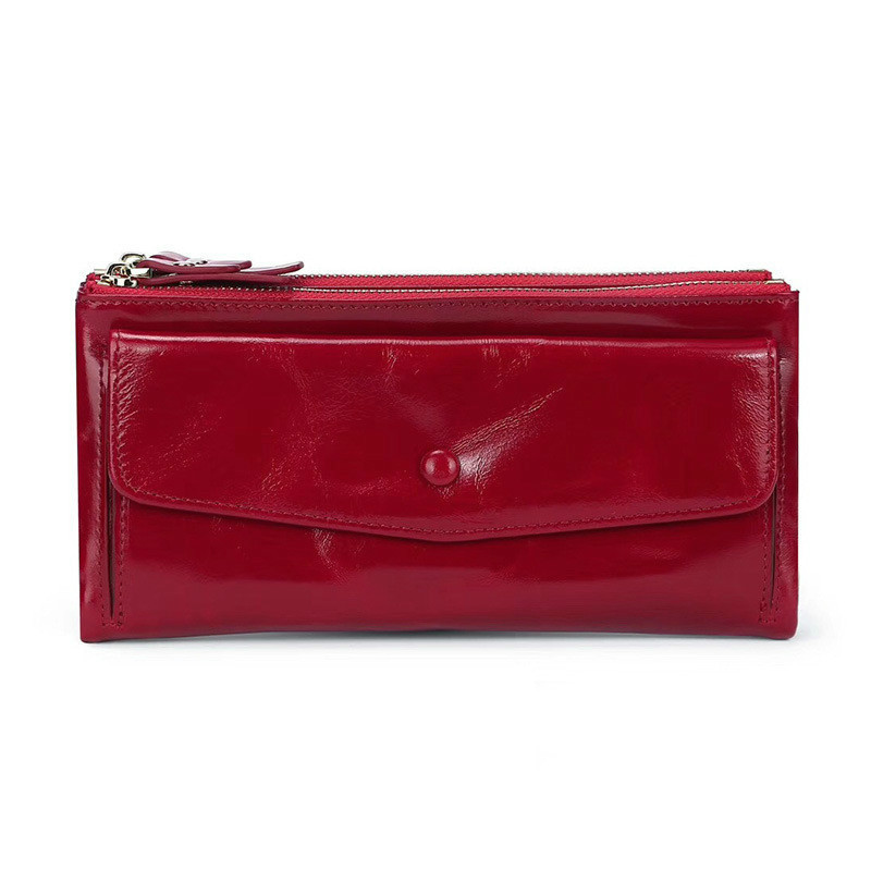Fashion Wallet Female Genuine Leather Women Leather Purse Solid Women Wallets And Purses Long Ladies Clutch Bags Cartera Mujer
