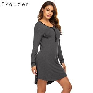 Image 4 - Ekouaer Women Autumn Nightgown Sleepshirts Nightwear Dress O Neck Long Sleeve Button Patchwork Sleepwear Spring Night Dress