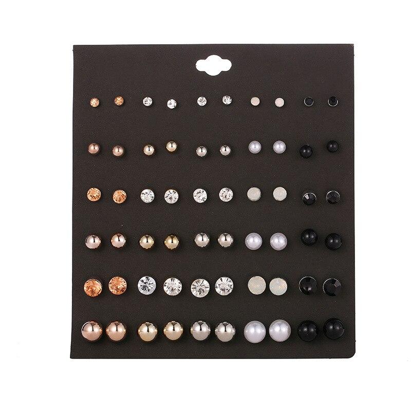 20/30Pais/Set Stud Earrings Women Fashion Jewelry 2020 Women Pearl Earrings Set Korean Clip On Stud Earrings