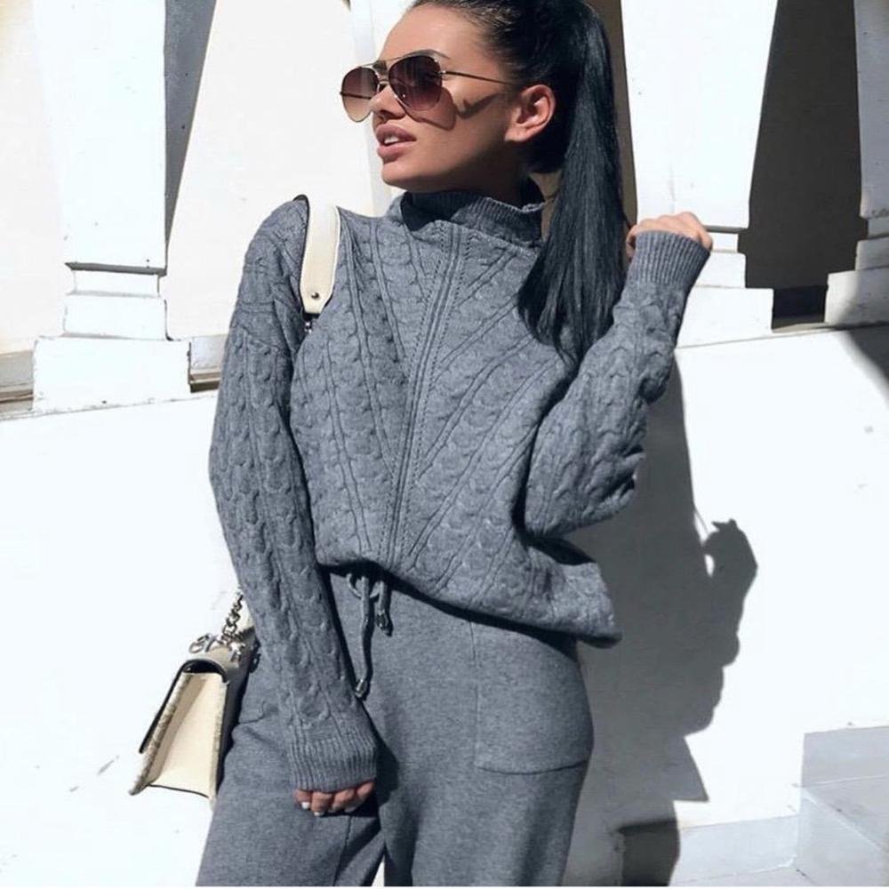 Kadın eşofman balıkçı yaka kazak tişörtü yeni örme 2 adet Set İpli pantolon takım elbise sıcak kış rahat iki parçalı setleri