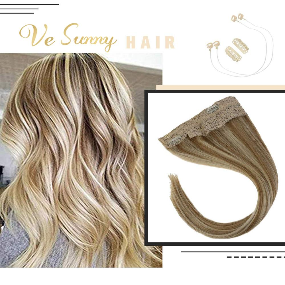 VeSunny Invisible Halo Hair Extensions 100% Real Human Hair Flip On Wire With 2 Clips Highlighted #27/613 Caramel Mix Blonde
