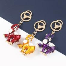 Pauli Manfi Fashion Metal Dripping Elephant Keychain Car Key Ring Women's Popular Backpack Pendant Campus Accessories