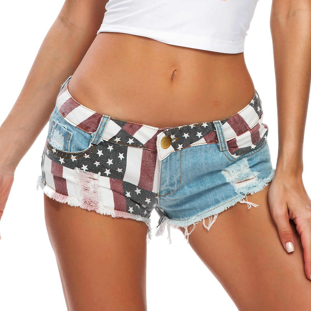 """רחוב ללבוש חם מכנסיים סקסי עלייה נמוכה ג 'ינס מכנסיים קצרים נשים ארה""""ב דגל מודפס ג' ינס מכנסיים סקיני חור חוף מיני גדילים מכנסי מסיבה"""