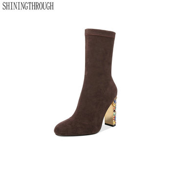 Suede Leather Ankle Slip-on Boots Fashion Sexy Round Toe Super High Heel Women Shoes Spring Autumn Party Ladies Shoes