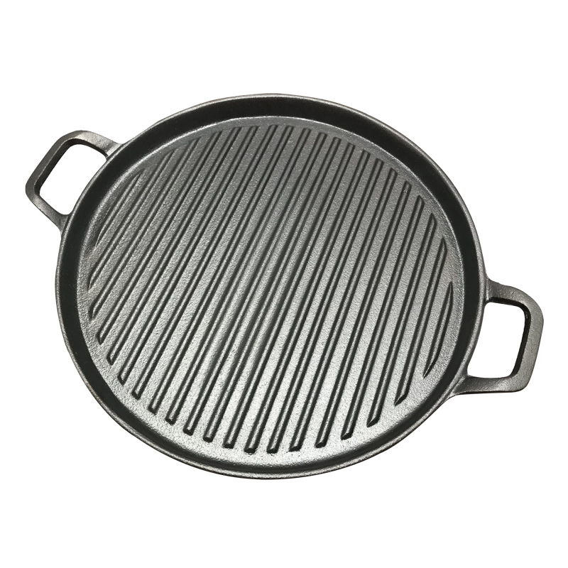 30cm Thickened Striped Cast Iron Steak Frying Pan BBQ Grill Plate Griddles Meat Roasting Pan Uncoated Nonstick Cookware
