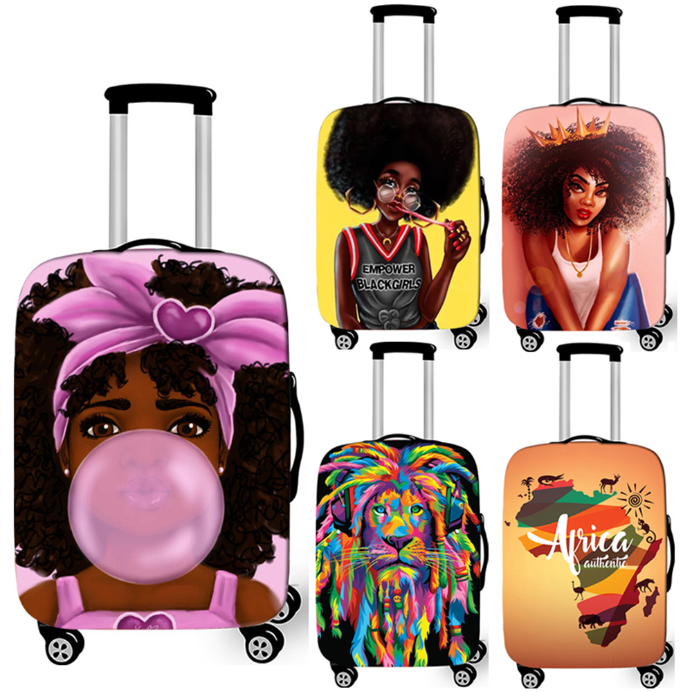 Afro Root / Girl Print Luggage Cover Travel Accessories American Africa Ladies Suitcase Protective Covers Trolley Case Cover