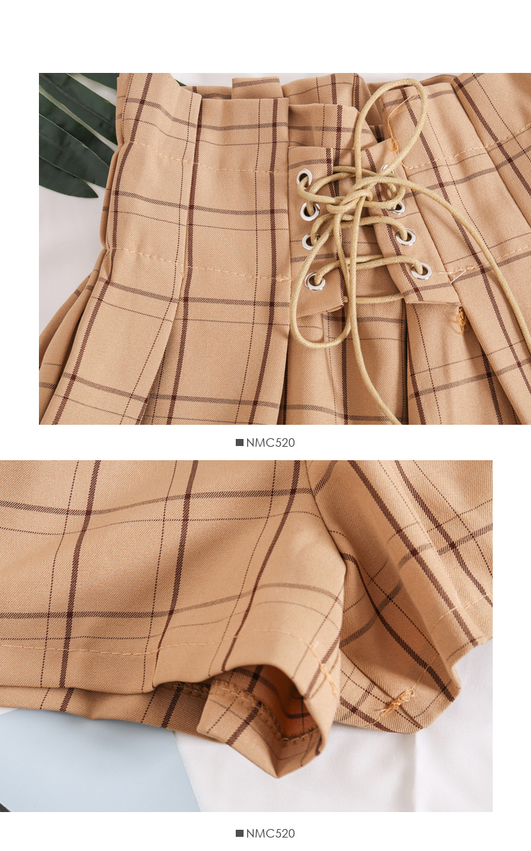 Plaid Drawstring Ribbons Elastic High Waist Shorts