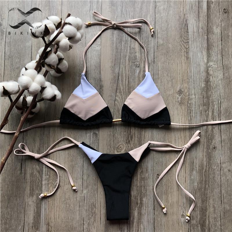 String bikinis 2019 Mujer Brazilian thong bikini set Halter swimwear women Patchwork swimsuit female bathing suit Bandage new