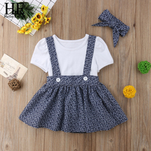 HE Hello Enjoy girls boutique outfits children clothing summer 2017 sets short sleeves t-shirts +cowboy overalls