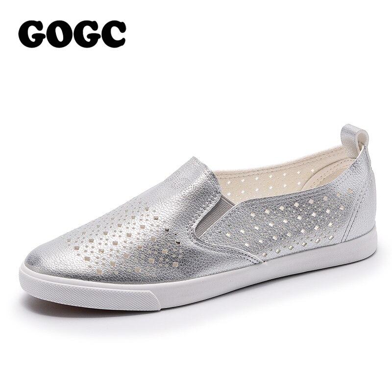 GOGC 2019 Slipony femmes trou chaussures dames en cuir chaussures respirant doux femmes chaussures plates vulcanisé sans lacet femmes baskets G936