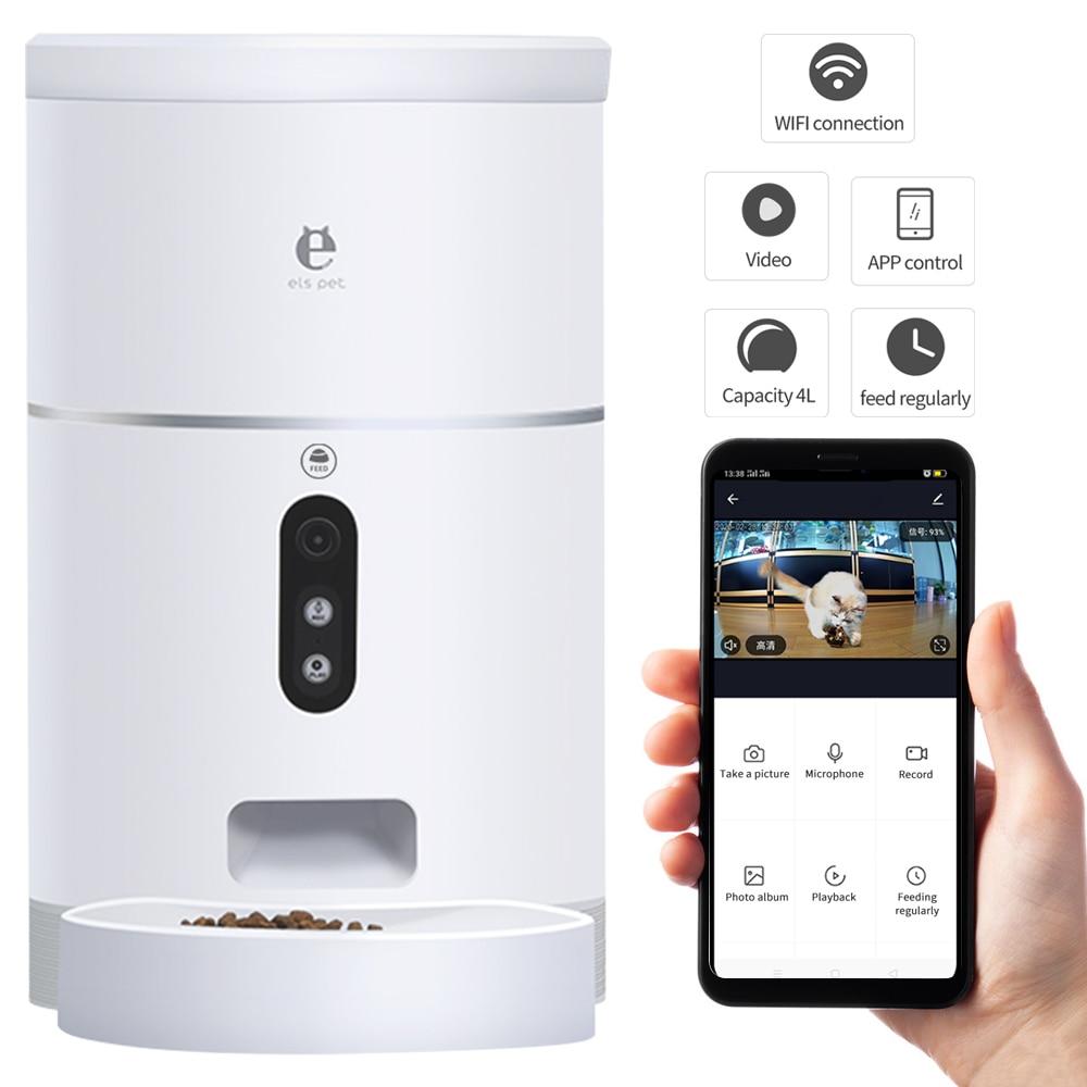 Дозатор для корма для кошек 4L миска для собак с камерой 1080P 113 ° широкоугольный автоматический питатель для домашних животных миска для еды APP Control аксессуары для домашних животных