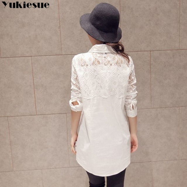 Casual Loose Women Shirts 2020 Spring New Fashion Plus Size Blouse Long Sleeve lace Buttons White Shirt Women Tops Streetwear 4