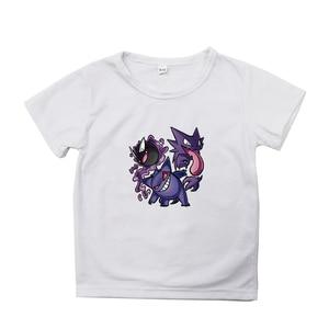 Белая детская футболка с рисунком покемона Повседневная хлопковая детская одежда с короткими рукавами и принтом Забавные футболки