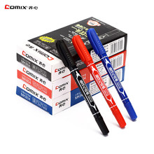 12 pcs/batch, oily small double-headed marker pen, permanent marker pen, office stationery pen, thin nib, thick nib marker
