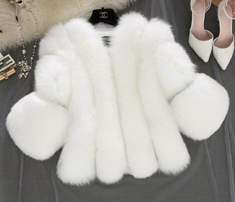 Fashion Silver Fox Real Fur Coat Thick Warm Blue Fox Womens Coats 2019 Winter Whole Skin Natural Fur O-Neck Elegant