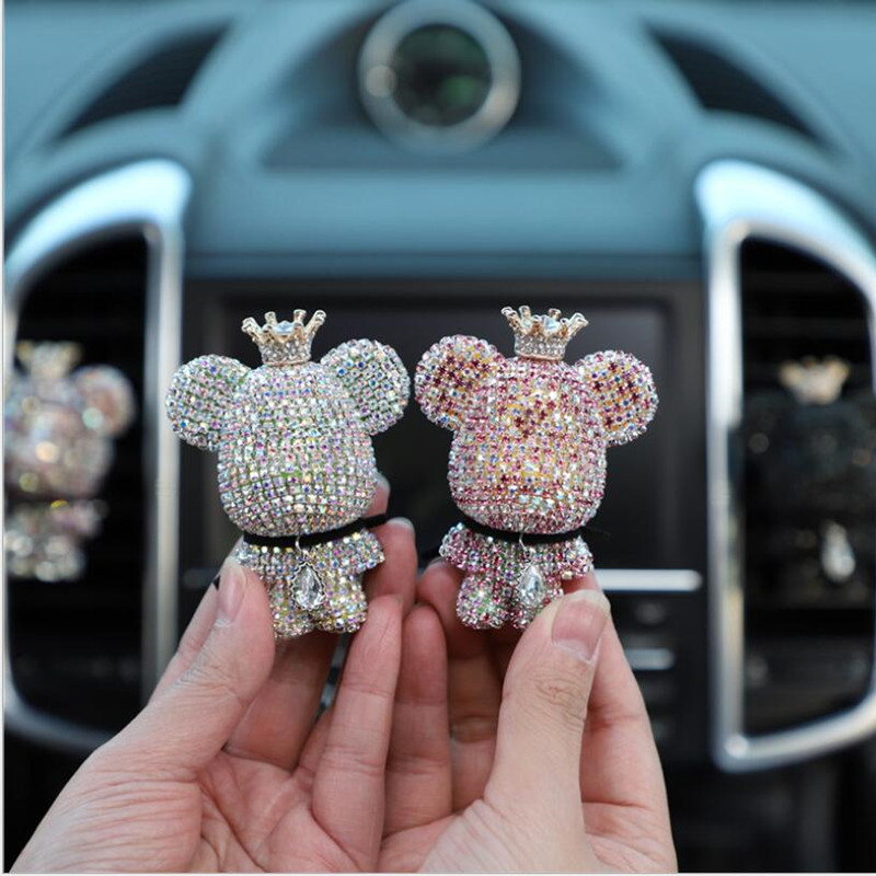 Creative crown diamond cute bear car violence bear fragrance perfume clip air outlet aroma car decoration air fresher cute