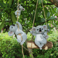 Resin Swinging Koala Animal Figurines Outdoor Fairy Garden Figurine Yard Hanging Ornament Decoration Statue Sculptture Kid Gifts