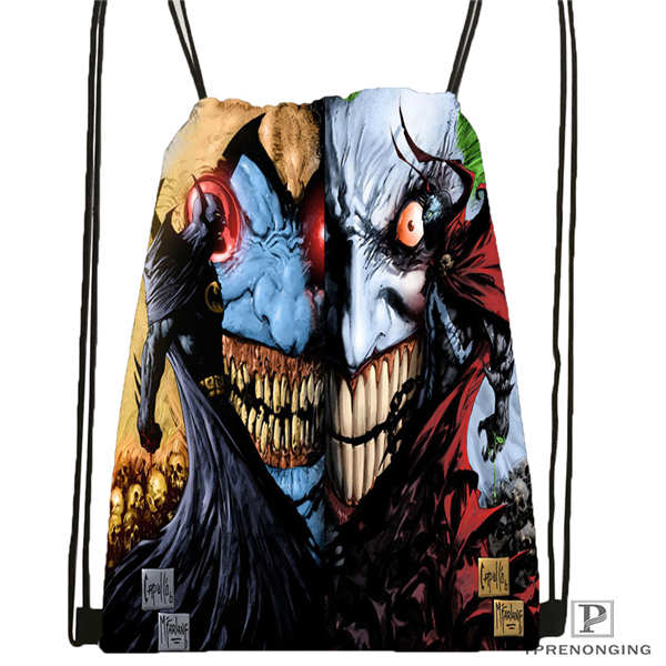 Custom Joker-batman-arkham@1 Drawstring Backpack Bag Cute Daypack Kids Satchel (Black Back) 31x40cm#2018612-01-(13)