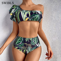 2020 Sexy Women One Shoulder Green Bikini Female Bather High Waist Swimsuit Brazilian Bathing Suit Swimming Woman Swimwear