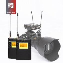 YUEPU UHF Camera bezprzewodowy mikrofon krawatowy nadajniki i odbiorniki do lustrzanka cyfrowa i kamera